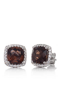 Belk & Co. Smokey Topaz and White Sapphire Stud Earrings in Sterling Silver
