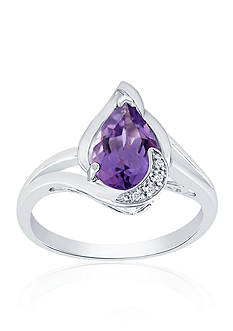 Belk & Co. Purple Amethyst and Diamond Ring in Sterling Silver