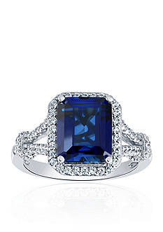 Belk & Co. Created Sapphire & Created White Sapphire Ring in Sterling Silver