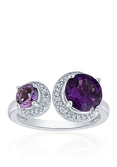 Belk & Co. Amethyst and Diamond Ring in Sterling Silver