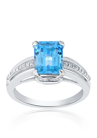 Belk & Co. Topaz and Diamond Ring in Sterling Silver