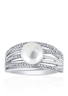 Belk & Co. Freshwater Pearl and Diamond Band in Sterling Silver