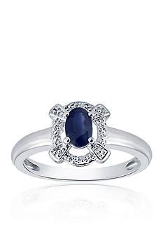 Belk & Co. Oval Sapphire & Diamond Ring in Sterling Silver