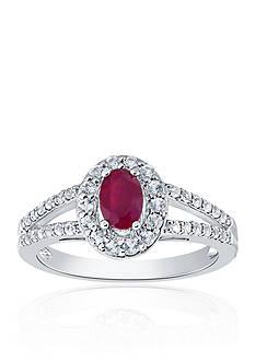Belk & Co. Ruby & Diamond Ring in Sterling Silver
