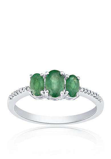 Belk & Co. Emerald and Diamond Ring in Sterling Silver