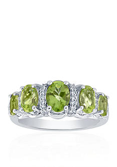 Belk & Co. Peridot and White Topaz Ring in Sterling Silver