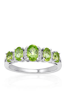 Belk & Co. Peridot & Diamond Band Ring in Sterling Silver