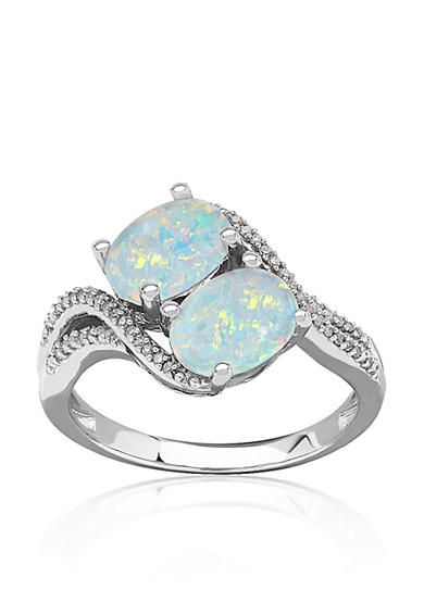 Belk & Co. Opal and Diamond Ring in Sterling Silver