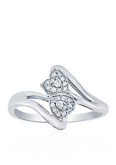 Belk & Co. 1/6 ct. t.w. Diamond Double Heart Ring in Sterling Silver