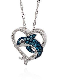 Belk & Co. 0.16 ct. t.w. Diamond Heart Dolphin Pendant in Sterling Silver
