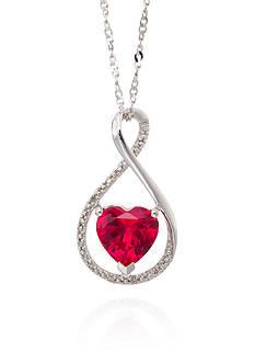 Belk & Co. Created Ruby & Diamond Pendant in Sterling Silver