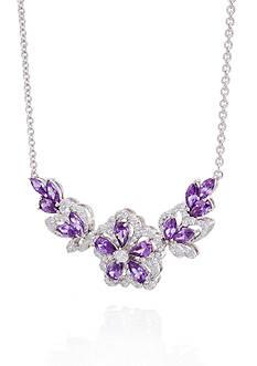 Belk & Co. Cubic Zirconia Flower Necklace in Sterling Silver