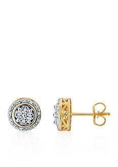 Belk & Co. 0.10 ct. t.w. Diamond Earrings in Gold Plated with Sterling Silver