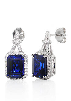 Belk & Co. Created Sapphire & Created White Sapphire Earrings in Sterling Silver