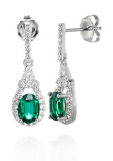 Belk & Co. Created Emerald & Created White Sapphire Drop Earrings in Sterling Silver