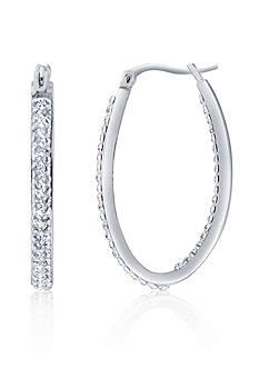 Belk & Co. Crystal Hoop Earrings in Sterling Silver