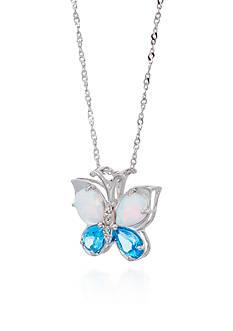Belk & Co. Blue Topaz & Created Opal Butterfly Pendant in Sterling Silver