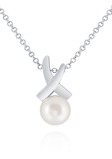 Belk & Co. Freshwater Pearl Pendant Necklace in Sterling Silver