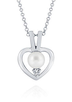 Belk & Co. Freshwater Pearl Heart Necklace in Sterling Silver