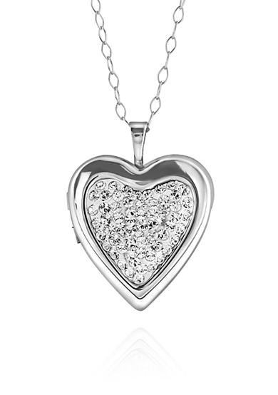 Belk & Co. Crystal Locket Heart Necklace in Sterling Silver