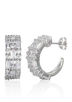Belk & Co. Cubic Zirconium Hoop Earrings in Sterling Silver
