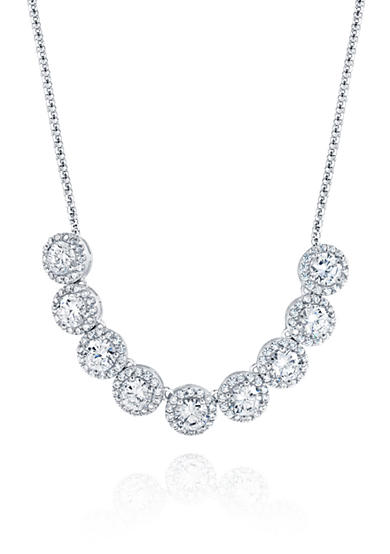 Belk & Co. Cubic Zirconia Round Halo Necklace in Sterling Silver