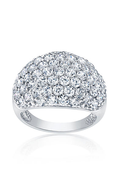 Belk co cubic zirconia dome band ring in sterling for Belk fine jewelry rings
