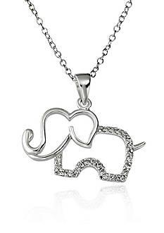 Belk & Co. Cubic Zirconia Elephant Pendant in Sterling Silver