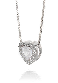 Belk & Co. Cubic Zirconia Heart Necklace in Sterling Silver