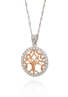 Belk & Co. Cubic Zirocnia Tree of Life Necklace in Sterling Silver
