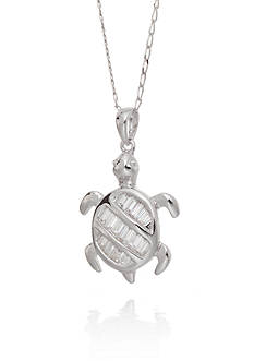 Belk & Co. Cubic Zirconia Turtle Pendant Necklace in Sterling Silver