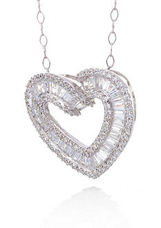 Belk & Co. Cubic Zirconia Open Heart Slide Pendant in Sterling Silver