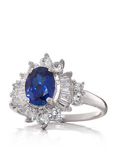 Belk & Co. Created Sapphire and Created White Sapphire Ring in Sterling Silver
