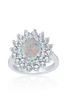 Belk & Co. Created Opal and White Sapphire Ring in Sterling Silver
