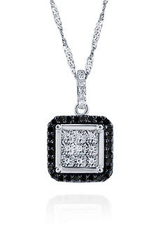 Belk & Co. 0.20 ct. t.w. Black and White Diamond Illusion Pendant in Sterling Silver