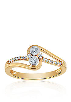 Belk & Co. 1/6 ct. t.w. Diamond Ring in 10K Yellow Gold over Sterling Silver