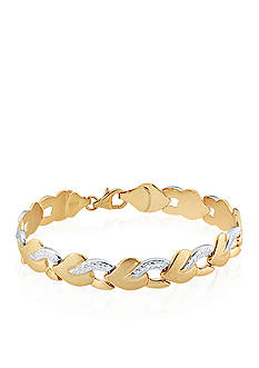 Belk & Co. Tear Stamp Bracelet in 10k Yellow Gold and Rhodium