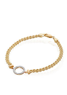 Belk & Co. Crystal Rope Bracelet in 10k Yellow Gold