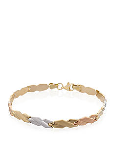Belk & Co. Tricolor 10K Yellow Gold, White Gold & Rose Gold X Stampato Bracelet