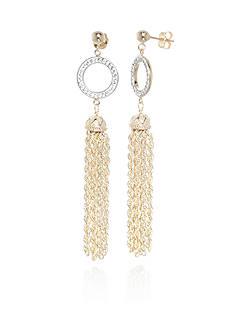 Belk & Co. Crystal Tassel Earrings in 10K Yellow Gold