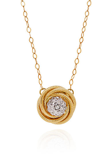 Belk & Co. Knot Crystal Pendant in 10K Yellow Gold