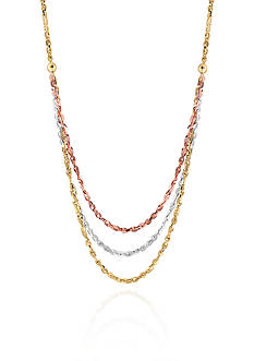 Belk & Co. 10k White Gold, Rose Gold and Yellow Gold Necklace