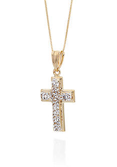 Belk & Co. Crystal Accent Cross Pendant in 10K Yellow Gold