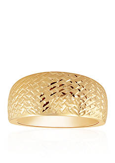 Belk & Co. Wide Diamond Cut Band Ring in 10k Yellow Gold