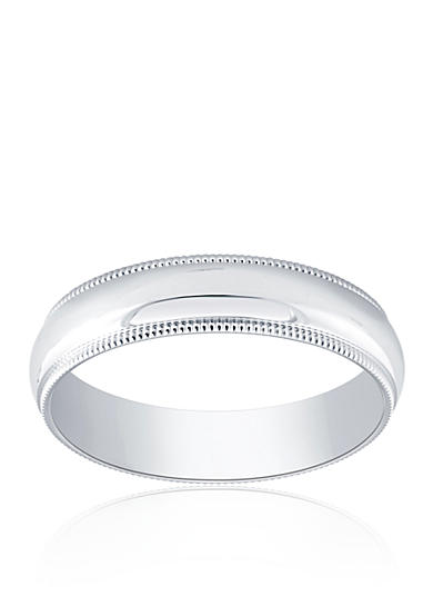 Belk & Co. Polished Com Fit Milgrain Ring in 10k White Gold