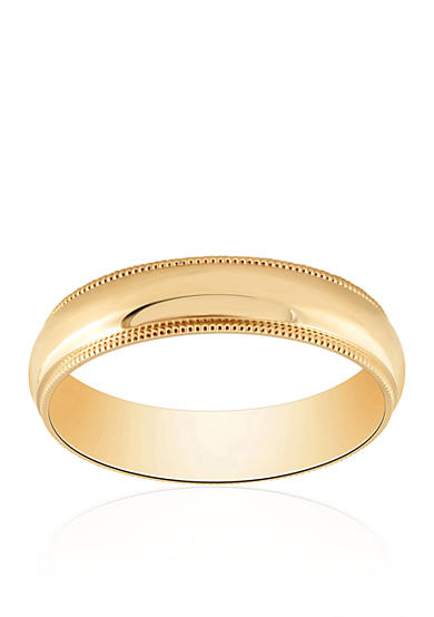 Belk & Co. Com Fit Milgrain Polished Ring in 10k Yellow Gold
