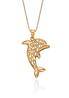 Belk & Co. Dolphin Pendant Necklace in 10K Yellow Gold