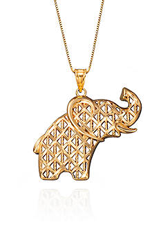 Belk & Co. Elephant Pendant in 10K Yellow Gold