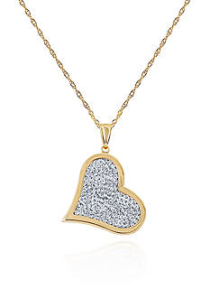 Belk & Co. Crystal Heart Pendant in 10K Yellow Gold