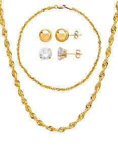 Belk & Co. Necklace, Bracelet, Ball and Cubic Zirconia Earrings Boxed Set in 10k Yellow Gold